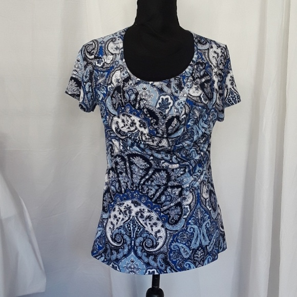 Dress Barn Tops - Dress Barn Blue Short Sleeve Scoop Neck Blouse